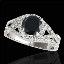2 CTW Certified Vs Black Diamond Solitaire Halo Ring Two Tone 10K White Gold - REF-94F9M - 33842