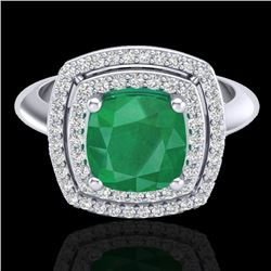 2.52 CTW Emerald & Micro VS/SI Diamond Certified Pave Halo Ring 18K White Gold - REF-74R5K - 20759