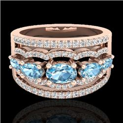 2.25 CTW Skt Blue Topaz & Micro Pave VS/SI Diamond Designer Ring 10K Rose Gold - REF-72H2W - 20794