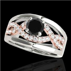 1.55 CTW Certified Vs Black Diamond Solitaire Ring Two Tone 10K White & Rose Gold - REF-81T6X - 3529