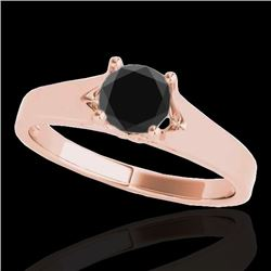 1 CTW Certified Vs Black Diamond Solitaire Ring 10K Rose Gold - REF-45H3W - 35159