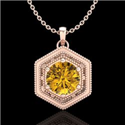 0.76 CTW Intense Fancy Yellow Diamond Art Deco Stud Necklace 18K Rose Gold - REF-94T5X - 37519