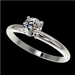 0.78 CTW Certified H-SI/I Quality Diamond Solitaire Engagement Ring 10K White Gold - REF-85K5R - 363