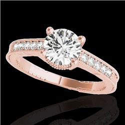 1.2 CTW H-SI/I Certified Diamond Solitaire Antique Ring 10K Rose Gold - REF-155W5H - 34748