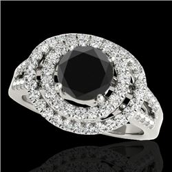 1.75 CTW Certified Vs Black Diamond Solitaire Halo Ring 10K White Gold - REF-101F5M - 34286