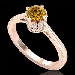 0.81 CTW Intense Fancy Yellow Diamond Engagement Art Deco Ring 18K Rose Gold - REF-106W9H - 37337