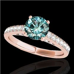 1.5 CTW SI Certified Fancy Blue Diamond Solitaire Ring 10K Rose Gold - REF-172T8X - 34868