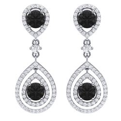 3.62 CTW Certified Black VS Diamond Earrings 18K White Gold - REF-190R9K - 39111