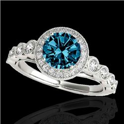 1.5 CTW SI Certified Fancy Blue Diamond Solitaire Halo Ring 10K White Gold - REF-178Y2N - 33603