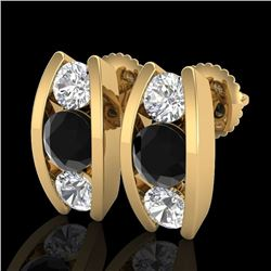 2.18 CTW Fancy Black Diamond Solitaire Art Deco Stud Earrings 18K Yellow Gold - REF-180T2X - 37767