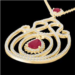3.20 CTW Ruby And Micro Pave VS/SI Diamond Heart Necklace 14K Yellow Gold - REF-162R4K - 22440