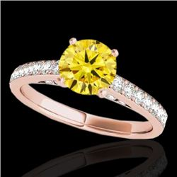 1.5 CTW Certified Si Fancy Intense Yellow Diamond Solitaire Ring 10K Rose Gold - REF-172T8X - 34870