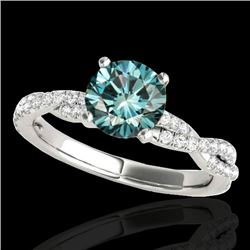 1.25 CTW SI Certified Fancy Blue Diamond Solitaire Ring 10K White Gold - REF-152M5F - 35237