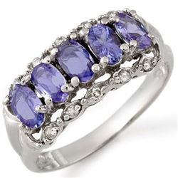 1.80 CTW Tanzanite & Diamond Ring 18K White Gold - REF-52R8K - 10679