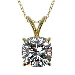 1.25 CTW Certified VS/SI Quality Cushion Cut Diamond Necklace 10K Yellow Gold - REF-367R3K - 33219
