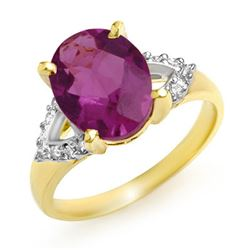 3.20 CTW Amethyst & Diamond Ring 10K Yellow Gold - REF-31K3R - 13339