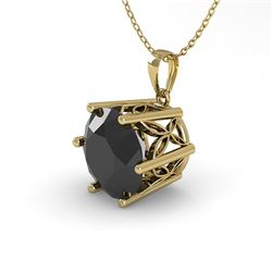 1 CTW Black Diamond Solitaire Necklace 18K Yellow Gold - REF-42H2W - 35875