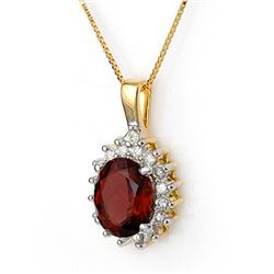 3.45 CTW Pink Tourmaline & Diamond Necklace 14K Yellow Gold - REF-67K3R - 11376