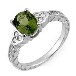 2.27 CTW Green Tourmaline & Diamond Ring 14K White Gold - REF-69Y3N - 11307