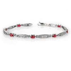 2.75 CTW Ruby & Diamond Bracelet 10K White Gold - REF-38Y2N - 14321