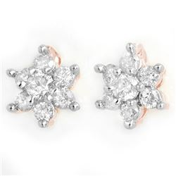 0.50 CTW Certified VS/SI Diamond Earrings 14K Rose Gold - REF-35W6H - 13581