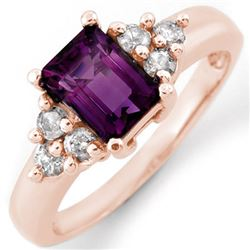 1.36 CTW Amethyst & Diamond Ring 14K Rose Gold - REF-51M3F - 10433