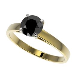 1 CTW Fancy Black VS Diamond Solitaire Engagement Ring 10K Yellow Gold - REF-34X2T - 32986
