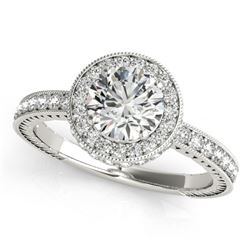 1.51 CTW Certified VS/SI Diamond Solitaire Halo Ring 18K White Gold - REF-398T5X - 26937