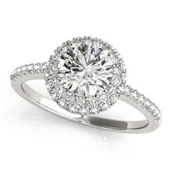1.6 CTW Certified VS/SI Diamond Solitaire Halo Ring 18K White Gold - REF-389M3F - 26485
