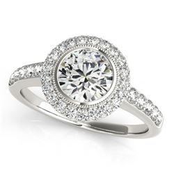 1.5 CTW Certified VS/SI Diamond Solitaire Halo Ring 18K White Gold - REF-401T6X - 27021