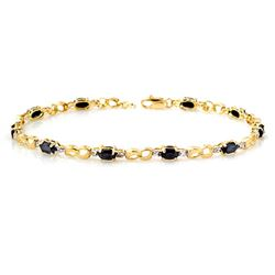 3.42 CTW Blue Sapphire & Diamond Bracelet 10K Yellow Gold - REF-43R6K - 12879