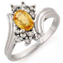 1.0 CTW Yellow Sapphire & Diamond Ring 18K White Gold - REF-47R3K - 10233