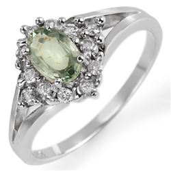 0.95 CTW Green Sapphire & Diamond Ring 10K White Gold - REF-32N2Y - 10378