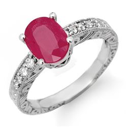 3.28 CTW Ruby & Diamond Ring 18K White Gold - REF-55R3K - 13736
