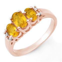 1.39 CTW Yellow Sapphire & Diamond Ring 14K Rose Gold - REF-35K3R - 10328