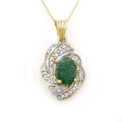 3.17 CTW Emerald & Diamond Pendant 14K Yellow Gold - REF-85F5M - 13131