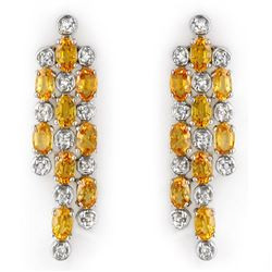 6.33 CTW Yellow Sapphire & Diamond Earrings 14K White Gold - REF-90T8X - 10267