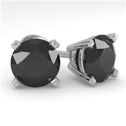 4.0 CTW Black Diamond Stud Designer Earrings 14K White Gold - REF-104H2W - 38389