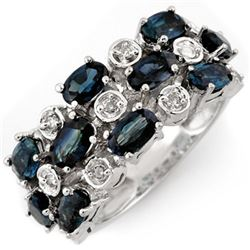4.20 CTW Blue Sapphire & Diamond Ring 10K White Gold - REF-48M4F - 11313