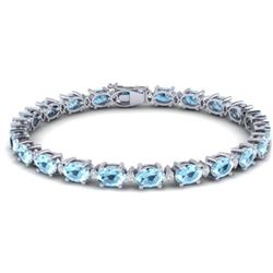 21.2 CTW Aquamarine & VS/SI Certified Diamond Eternity Bracelet 10K White Gold - REF-263W6H - 29444