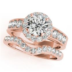 2.46 CTW Certified VS/SI Diamond 2Pc Wedding Set Solitaire Halo 14K Rose Gold - REF-555H6W - 31317