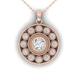 0.91 CTW Certified VS/SI Diamond Art Deco Necklace 14K Rose Gold - REF-121F3M - 30469