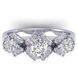 2 CTW Certified VS/SI Diamond Art Deco 3 Stone Ring Band 14K White Gold - REF-200H5W - 30282