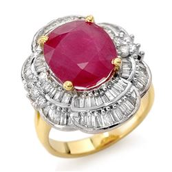 5.59 CTW Ruby & Diamond Ring 14K Yellow Gold - REF-159W6H - 13145