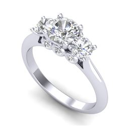 1.5 CTW VS/SI Diamond Solitaire Art Deco 3 Stone Ring 18K White Gold - REF-236Y4N - 37313