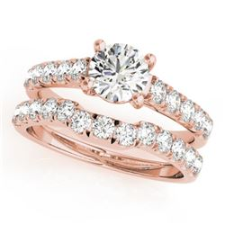 1.39 CTW Certified VS/SI Diamond 2Pc Set Solitaire Wedding 14K Rose Gold - REF-215T5X - 32088
