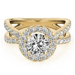 1.51 CTW Certified VS/SI Diamond Solitaire Halo Ring 18K Yellow Gold - REF-176Y5N - 26765