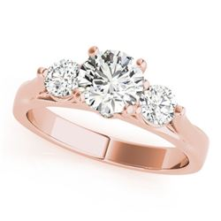 1.25 CTW Certified VS/SI Diamond 3 Stone Ring 18K Rose Gold - REF-239H3W - 28000