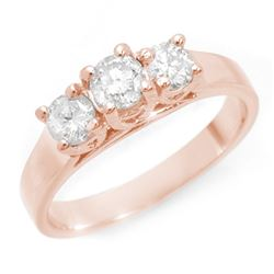 0.85 CTW Certified VS/SI Diamond 3 Stone Ring 14K Rose Gold - REF-119K3R - 10977