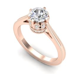 1.14 CTW VS/SI Diamond Solitaire Art Deco Ring 18K Rose Gold - REF-220X5T - 36828